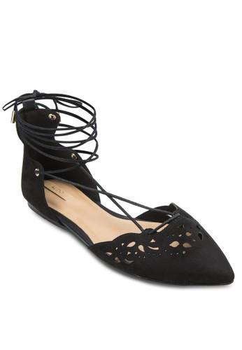 Harmony zalora 包包評價雕花尖頭繞踝平底鞋, 女鞋, 鞋