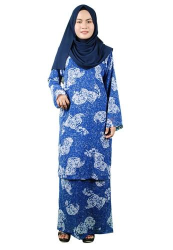 Baju Kurung Pesak from Delimamoda in Blue and Navy