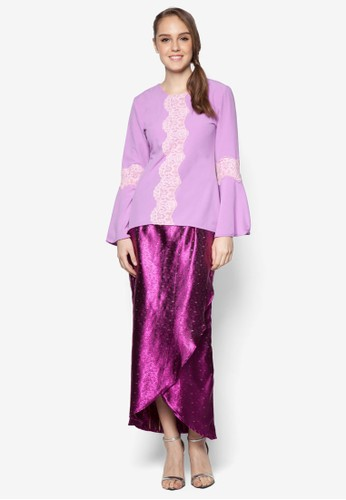 Cattleya Modern Lace Kurung from ARDA PUTRA in Purple