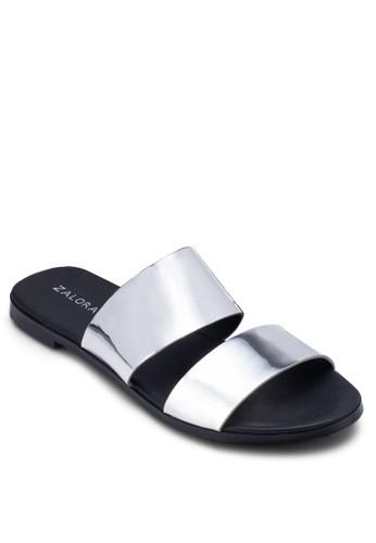 金屬感雙帶拖鞋, 女zalora退貨鞋, 涼鞋