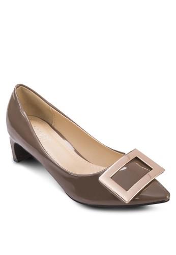 方形牌飾低根鞋,zalora 台灣 女鞋, 厚底高跟鞋