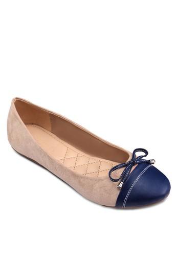 雙色拼接蝴蝶結娃娃鞋zalora開箱, 女鞋, 芭蕾平底鞋
