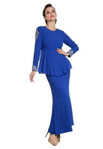 Aryaa Peplum Kurung Modern from Rina Nichie in Blue