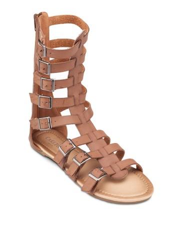扣環多帶羅馬涼鞋, 女鞋,zalora 泳衣 涼鞋
