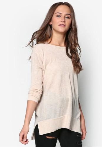 針織拼接長袖衫, 服飾, zalora 包包評價外套