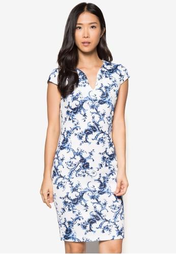 印花V領貼身洋裝, 服飾, 緊zalora時尚購物網的koumi koumi身洋裝