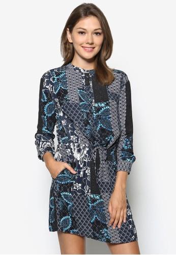 Prairie zalora鞋子評價拼布繫帶襯衫式洋裝, 服飾, 短洋裝