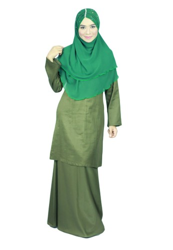 Baju Kurung Moden Ariani – Dark Olive from anisse in Green