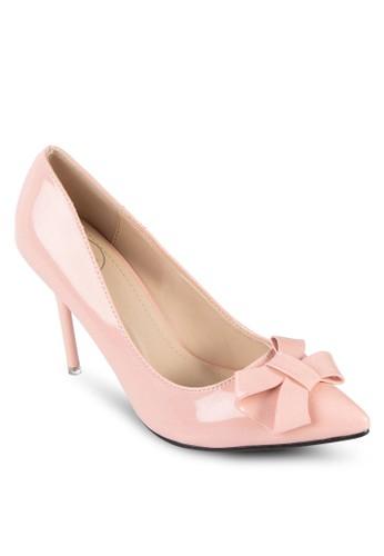PU 蝴蝶結尖頭高跟鞋, zalora 鞋評價女鞋, 鞋