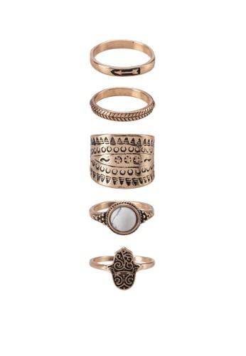 Huanuni zalora 鞋評價五入戒指組, 飾品配件, 戒指