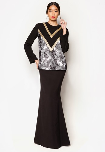 Art Deco Adette Baju Kurung from Jovian Mandagie for Zalora in Black