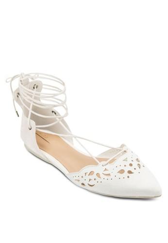 Harmonyzalora 包包 ptt 雕花尖頭繞踝平底鞋, 女鞋, 鞋