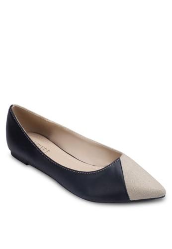 異zalora 評價材質拼接撞色平底鞋, 女鞋, 芭蕾平底鞋