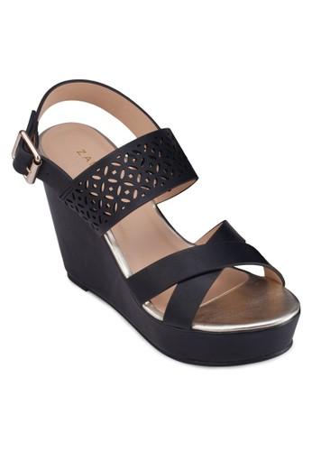 交叉帶zalora鞋雕花繞踝楔形鞋, 女鞋, 楔形涼鞋