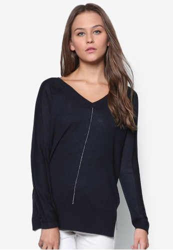 撞色縫topshop hk線針織長袖衫, 韓系時尚, 服飾