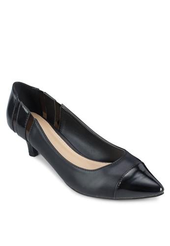 拼接尖頭低根鞋, 女鞋, 厚底高跟zalora退貨鞋