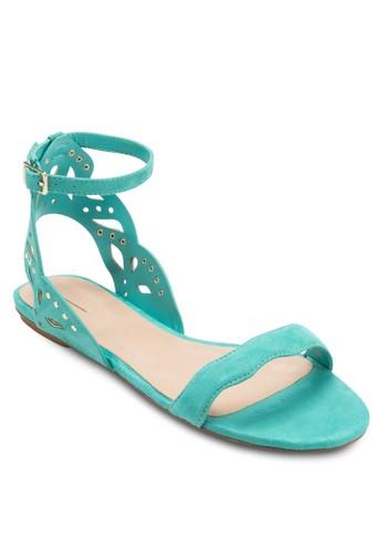 Lizalora 心得llywhite 雕花踝帶平底涼鞋, 女鞋, 涼鞋