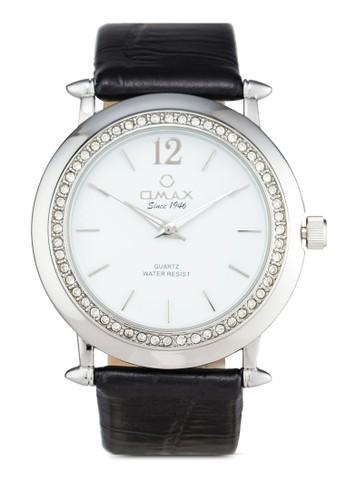 Omax AB07 閃鑽圓框仿皮手錶, 錶類, 其zalora 衣服尺寸它錶帶