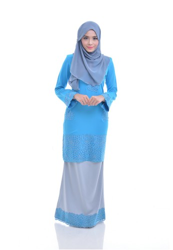 Maribeli Butik Fisha Kurung –  Blue Grey (deep Sky Blue Grey) from Maribeli Butik in Grey and Blue