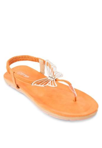 蝴蝶夾腳繞踝涼鞋, 女鞋,zalora退貨 鞋