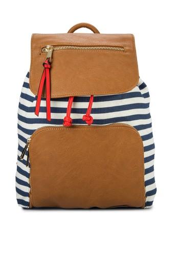 Shim 仿皮翻蓋條紋後背包, 包, zalora 衣服評價後背包