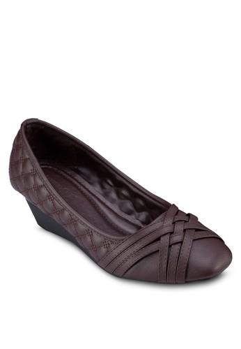 zalora 鞋評價方頭軟襯楔型跟鞋, 女鞋, 鞋