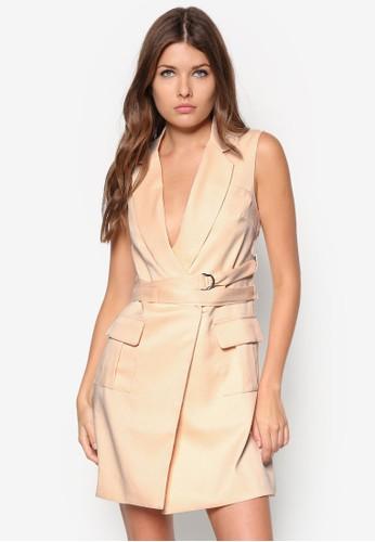 翻領繫帶zalora 評價無袖西裝洋裝, 服飾, 洋裝