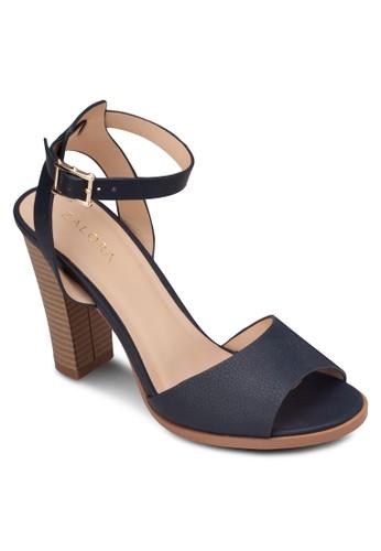 寬帶繞踝木製粗跟涼鞋, 女鞋, 高zalora 心得跟