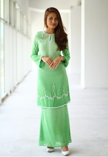 Baju Kurung Printed Moden from Sweetheart in Green
