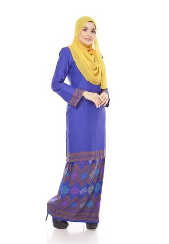Royal Songket Kurung Modern – Blue from Maribeli Butik in Blue
