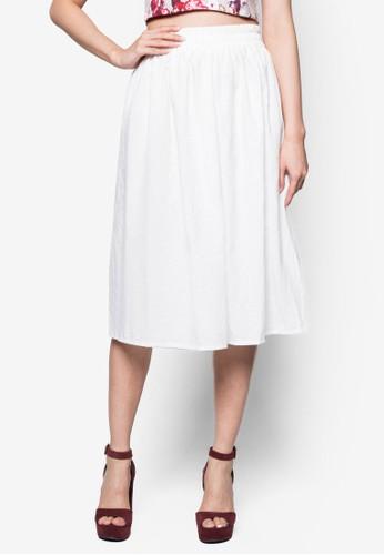 素色亞麻及膝裙, 服zalora是哪裡的牌子飾, 裙子