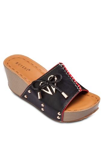金屬飾繫帶楔形涼鞋, zalora退貨女鞋, 楔形涼鞋