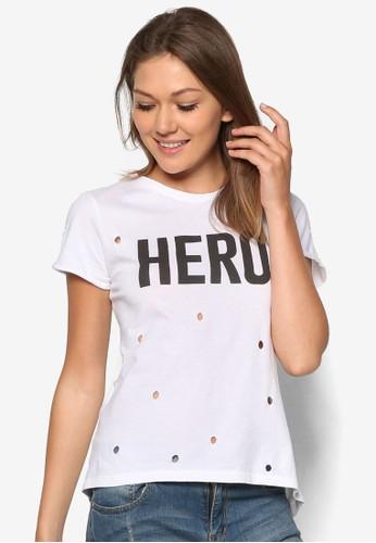 『英雄』文字沖孔T 恤mango服飾官網, 服飾, 上衣