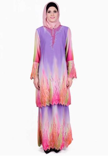Contrast Color Baju Kurung from ESPRIMA in Purple