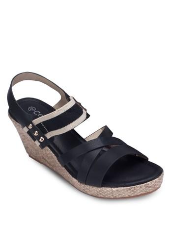 zalora 內衣交叉帶繞踝楔型跟涼鞋, 女鞋, 鞋