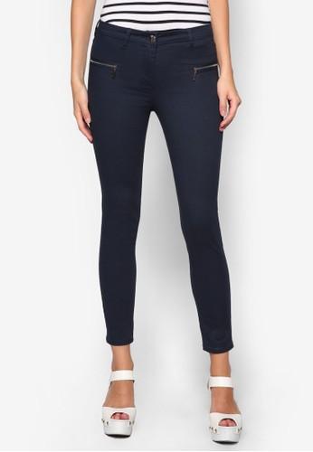 拉鍊窄管長褲zalora taiwan 時尚購物網鞋子, 服飾, 長褲及內搭褲
