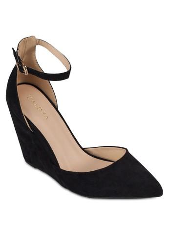 繞踝zalora 折扣碼尖頭楔形鞋, 女鞋, 厚底楔形鞋