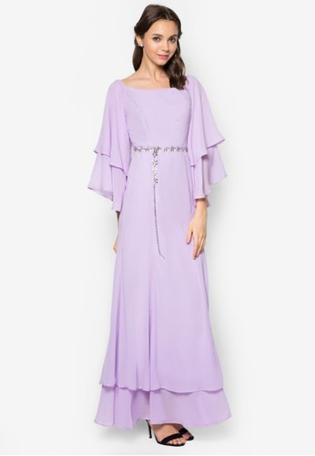 Layered Off Shoulder zalora 鞋評價Dress, 服飾, 長洋裝