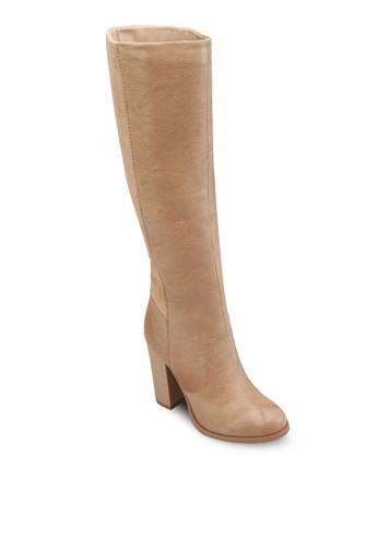 仿皮粗跟高筒靴, 女zalora時尚購物網的koumi koumi鞋, 靴子