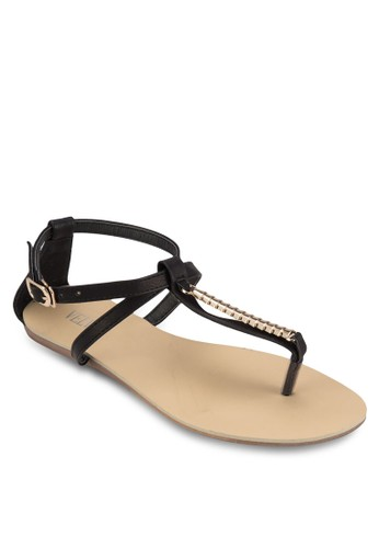 Charlzalora 台灣ene 閃飾繞踝平底涼鞋, 女鞋, 涼鞋