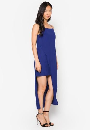 不對稱裹飾zalora開箱連身長裙, 服飾, 洋裝