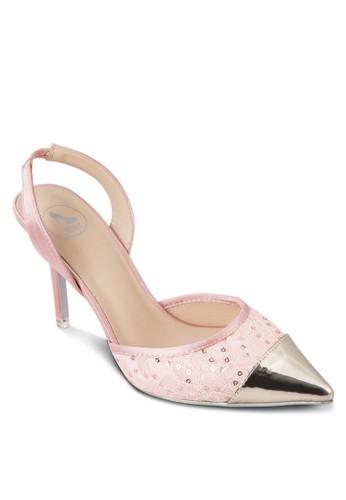 亮面尖頭蕾絲高跟鞋zalora 心得, 女鞋, 鞋
