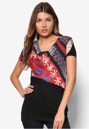 印花流蘇短袖TEE, 服飾zalora 包包評價, T恤