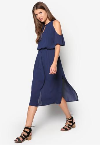 挖肩側zalora 台灣開衩連身裙, 服飾, 及膝洋裝