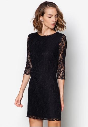 蕾絲鉤花七分袖洋裝, 服zalora退貨飾, 洋裝