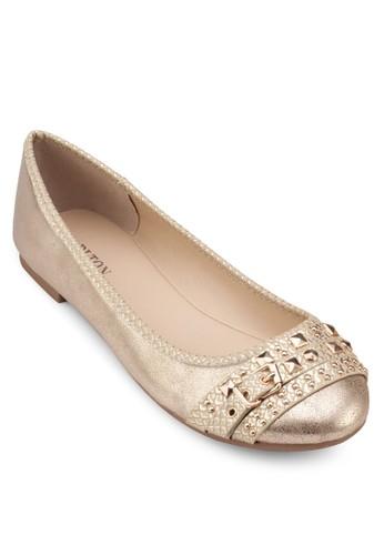 金屬感鉚釘娃娃鞋, 女鞋, 芭蕾平zalora 男鞋 評價底鞋