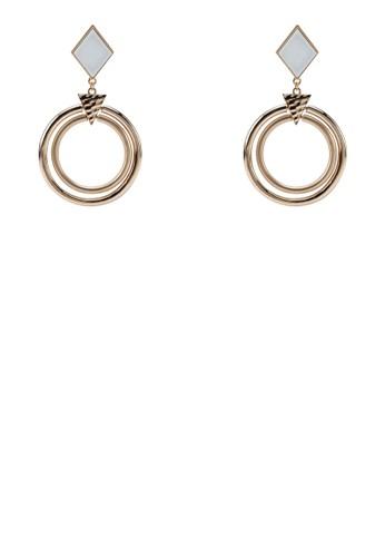 Adrean 菱形環狀耳環, 飾品配件zalora 心得, 飾品配件