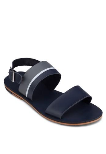 扣zalora 男鞋 評價環條紋繞踝涼鞋, 鞋, 拖鞋