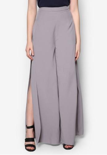 Lovezalora時尚購物網的koumi koumi 側開叉寬管長褲, 服飾, 長褲及內搭褲