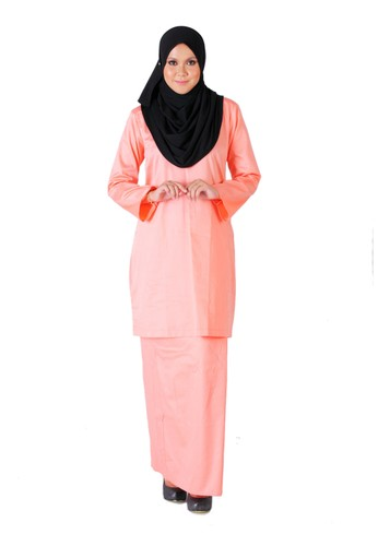 Tihani Plain Kurung in Peach Color from Syus Couture in Orange